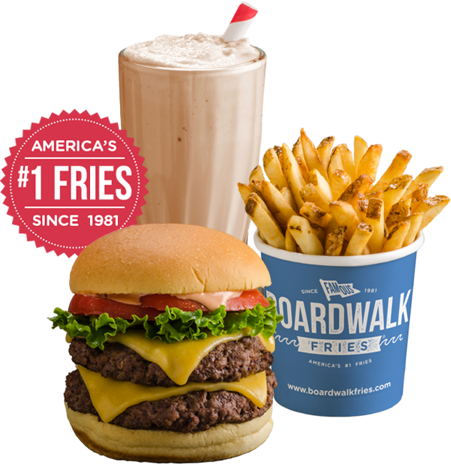 french fries hamburger and a milkshake
